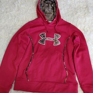 Womens Under Armour Pink/Camo Cold Gear Hoodie (S)